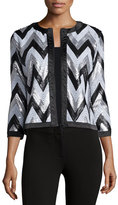 Michael Simon Zigzag-Sequined Jacket, Plus Size