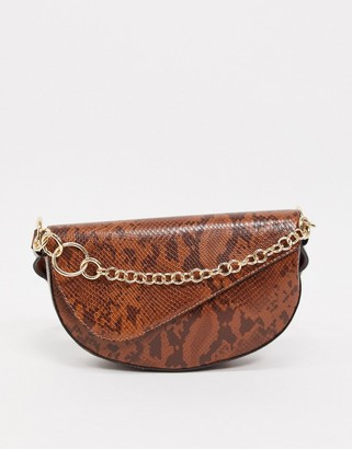 Topshop shoulder bag with chain detail in brown snake print
