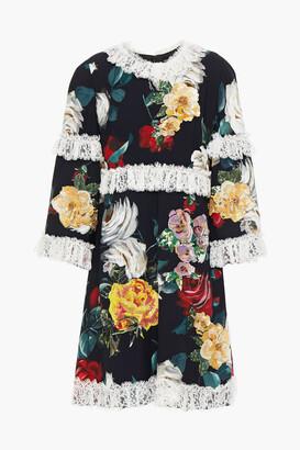 Dolce & Gabbana Embellished Lace-trimmed Floral-print Crepe De Chine Mini Dress