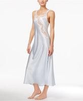 Oscar de la Renta Lace-Trimmed Charmeuse Long Nightgown