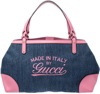 Gucci Blue/Pink Denim and Leather Hawaii Tote