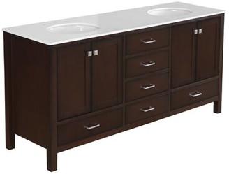 "Three Posts Cheshunt Full Cabinet 72"" Double Bathroom Vanity Set Top Finish: Quartz, Base Finish: Chocolate"