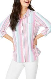 Foxcroft Reese Stripe Seersucker UPF Wrinkle Free Shirt