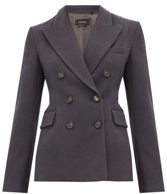Isabel Marant Kelsey Double Breasted Brushed Twill Blazer - Womens - Dark Grey