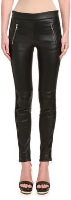 Alexander McQueen Leather Zip-Pocket Leggings