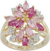 JCPenney FINE JEWELRY Lab-Created Ruby Pink & White Sapphire Flower Ringin 14K Gold over Silver