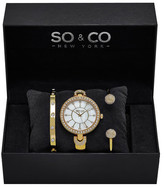 So&Co Women's Madison Crystal Bangle Watch Set