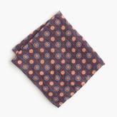 J.Crew Italian linen-silk pocket square in navy medallion print