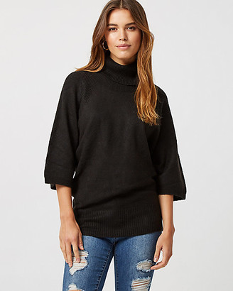 Le Château Rib Knit Cowl Neck Poncho Sweater