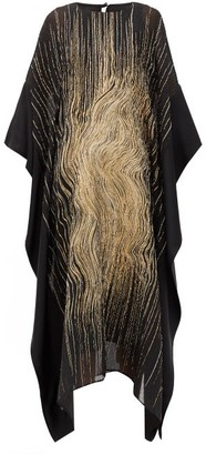 Taller Marmo Madame Butterfly Lame-embroidered Silk-blend Dress - Black Gold