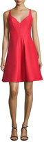 Halston Sleeveless Pleated Structured Faille Cocktail Dress, Red