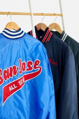 Urban Renewal Vintage Blue Satin Varsity Bomber Jacket - Blue M/L at Urban Outfitters
