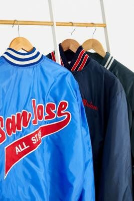 Urban Renewal Vintage Blue Satin Varsity Bomber Jacket - Blue S/M at Urban Outfitters