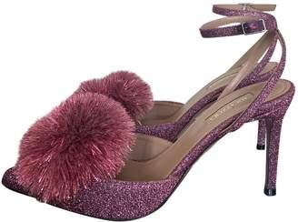 Aquazzura Powder Puff Pink Glitter Heels