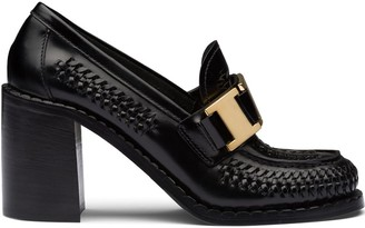 Prada Woven High-Heeled Loafers