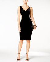 Xscape Evenings Velvet Beaded Illusion Sheath Dress