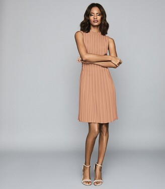 Reiss Linnea - Pleated Sleeveless Mini Dress in Pink
