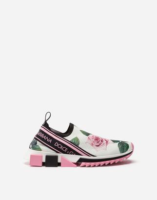 Dolce & Gabbana Tropical Rose Print Stretch Mesh Sorrento Sneakers