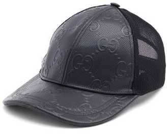 Gucci GG-embossed Leather And Mesh Cap - Black