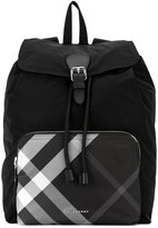 Burberry checked pocket rucksack - men - Calf Leather/Polyamide/Polyester - One Size