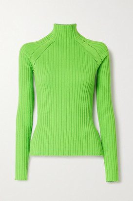 ANNA QUAN Blake Neon Pointelle-trimmed Ribbed Cotton Sweater - Green