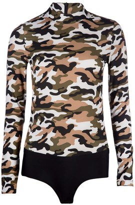 Ukulele Camouflage Army Back Zip High Neck Fitted Top Bodysuit