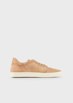 Giorgio Armani Suede Sneakers With Embossed Logo