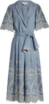 Luisa Beccaria Broderie-anglaise linen-blend dress