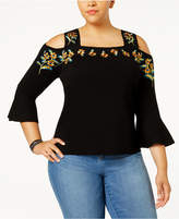 INC International Concepts I.n.c. Plus Size Embroidered Cold-Shoulder Top, Created for Macy's