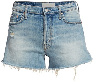 Mother The Tomcat High-Rise Kick Fray Heart Patch Denim Shorts