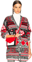 MSGM Oversized Cardigan in Red,Abstract.