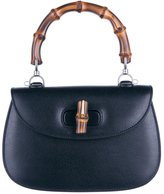 Gucci women's leather handbag shopping bag purse bamboo