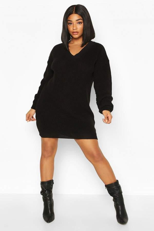 boohoo Plus Rib V-neck Jumper Dress