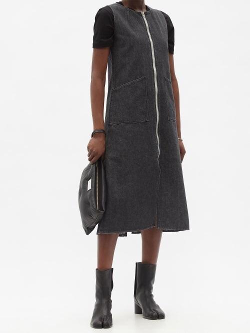 Thumbnail for your product : Kuro Zipped Washed-denim Midi Dress - Dark Denim