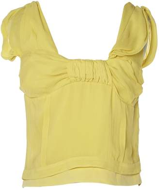 Christian Dior Yellow Silk Tops
