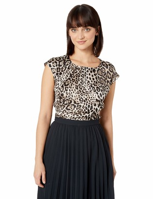 Kasper Women's Petite Cap Sleeve Jewel Neck Animal Print Blouse W/Keyhole