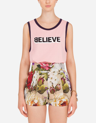 Dolce & Gabbana Jersey Tank Top With Believe Print