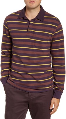 French Connection Rugby Stripe Long Sleeve Pocket Polo