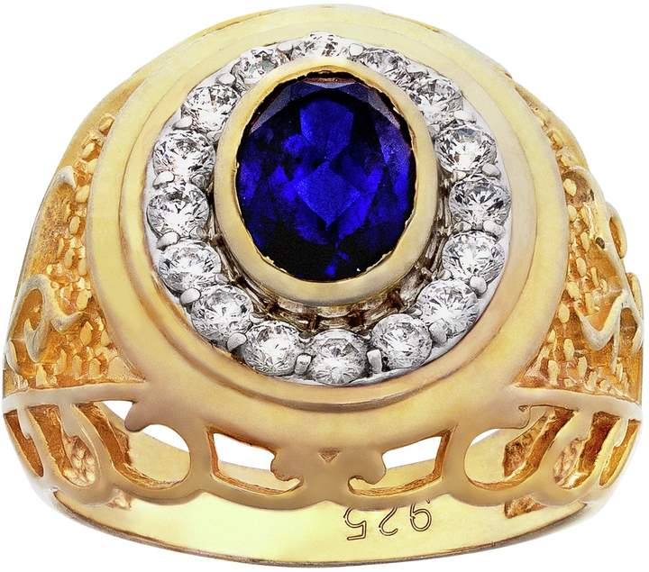 05402f23ebf12 Men's Gold Plated Silver Created Sapphire and CZ Ring