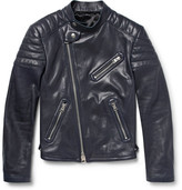 Tom Ford Quilted Leather Biker Jacket - Midnight blue