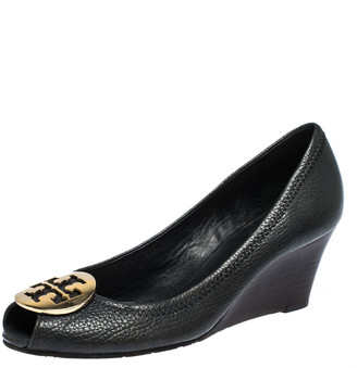 Tory Burch Black Leather Wedge Peep Toe Pumps Size 38