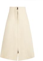 Fendi Fluted wool and silk-blend A-line skirt