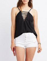 Charlotte Russe Lace-Up Tank Top