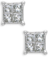 Macy's 10k White Gold Diamond Quad Stud Earrings (1/6 ct. t.w.)