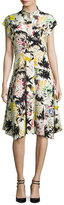 Zero Maria Cornejo Adi Cap-Sleeve Printed Shirtdress, White Pattern
