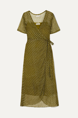Cloe Cassandro - Kimi Printed Silk-crepon Wrap Dress - Sage green