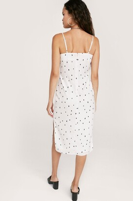 Nasty Gal Womens Polka Dot Fitted Midi Slit Dress - Black - 12