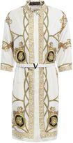 Versace Baroque Print Silk Belted Dress