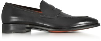 Santoni Duke Black Leather Penny Loafer Shoes