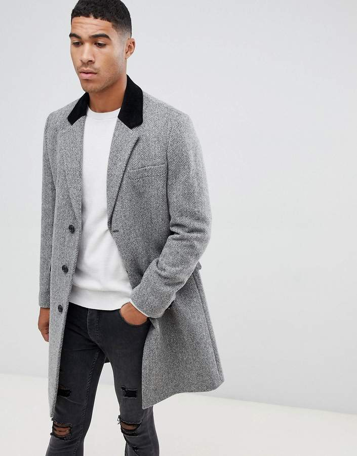 Asos Design DESIGN wool mix overcoat in herringbone with velvet collar in grey